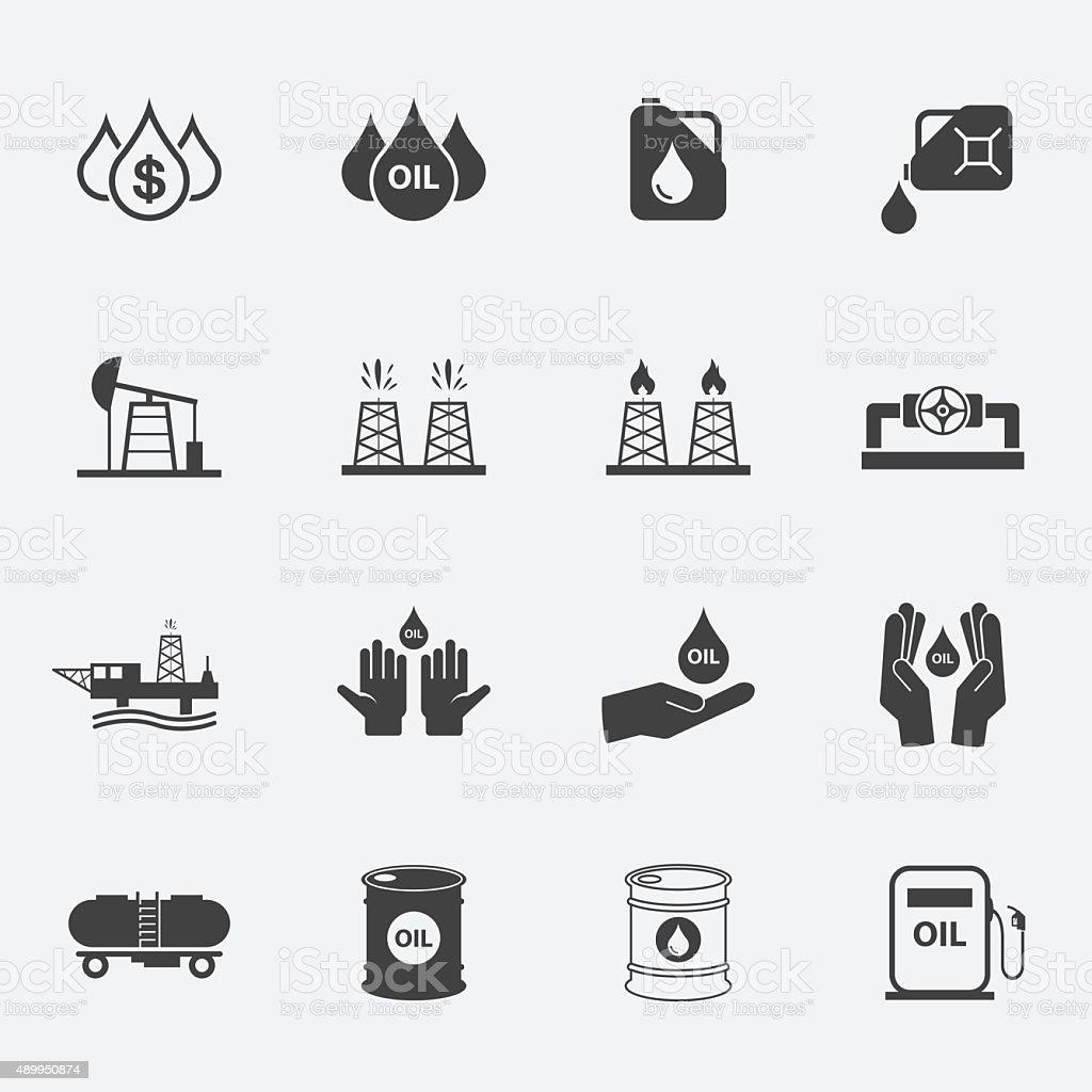 oil icons set. vector art illustration