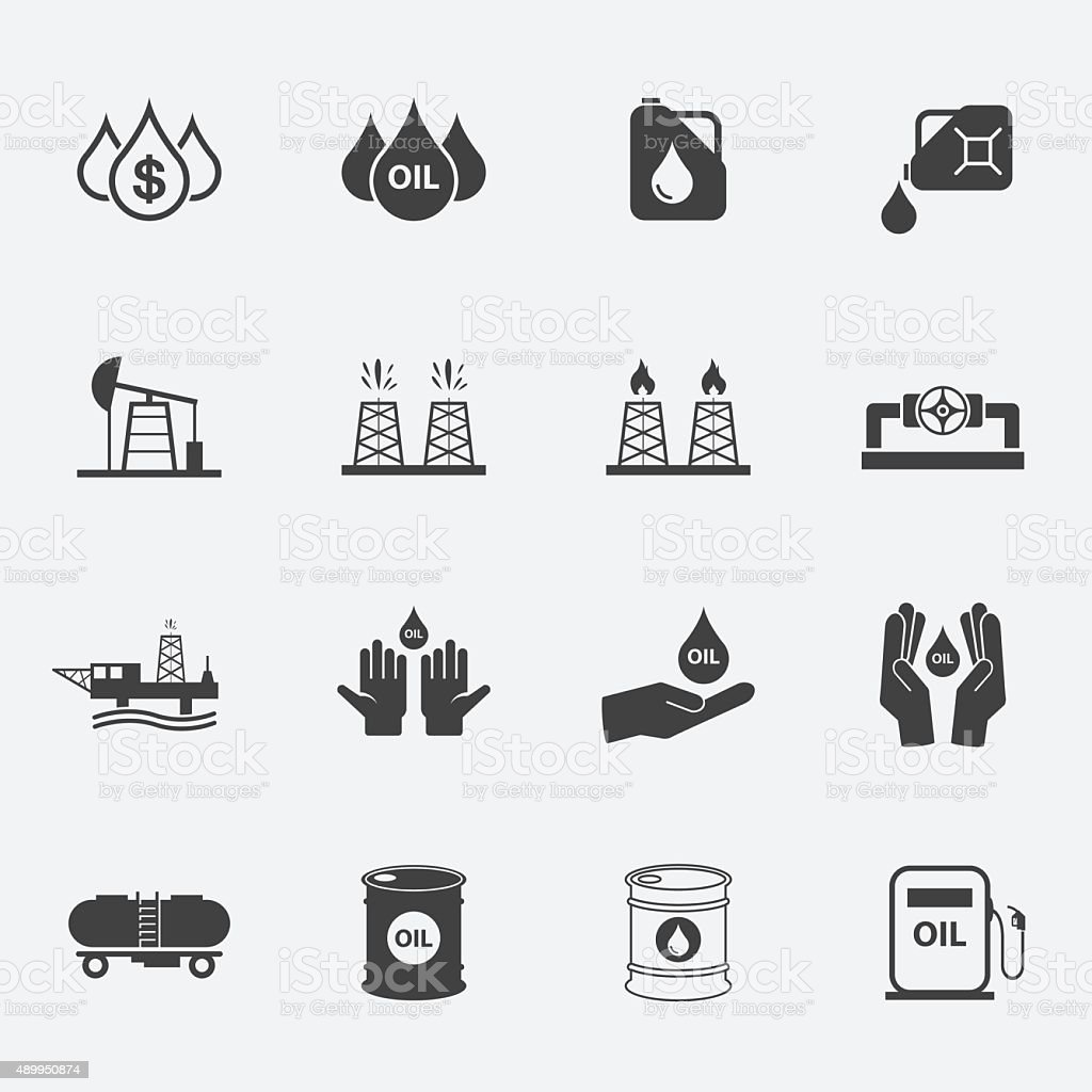 oil icons set. vector art illustration