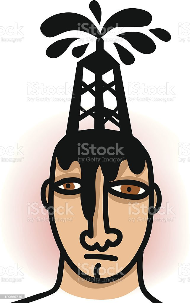 Oil in his head royalty-free stock vector art
