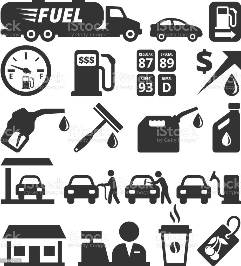 Oil Industry and Gas Station black & white icon set vector art illustration