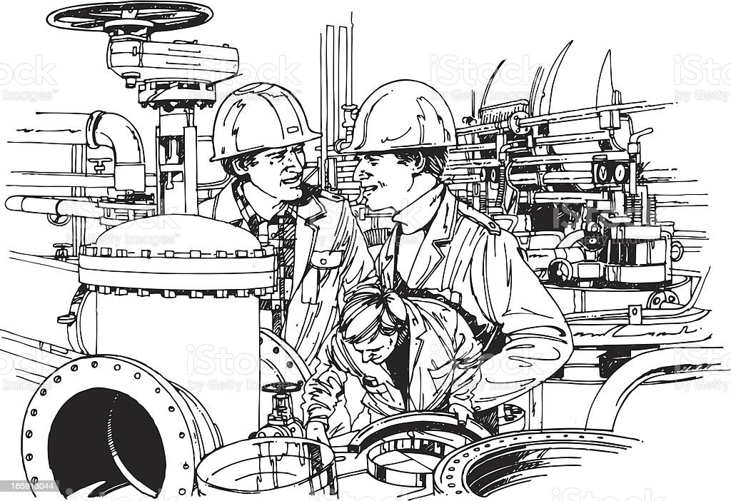 Oil industry and workers vector art illustration