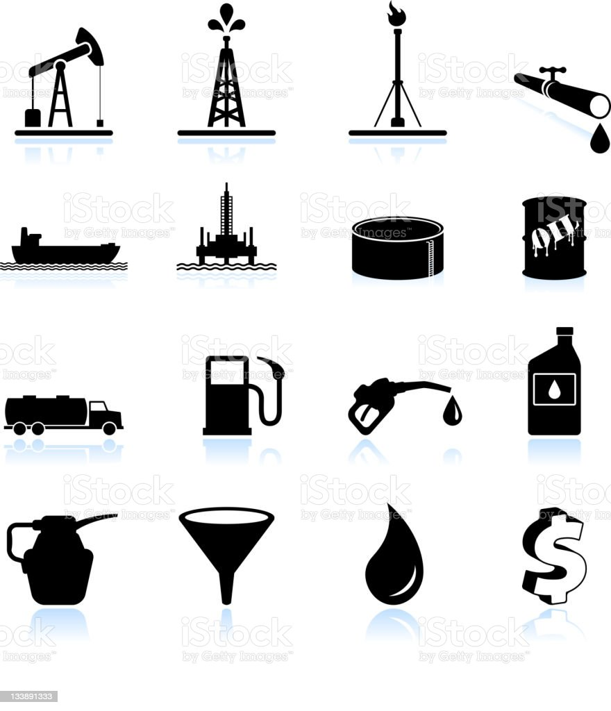 Oil industry black and white royalty free vector icon set vector art illustration