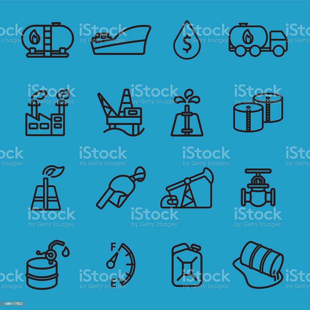 Oil industry black line icon vector art illustration