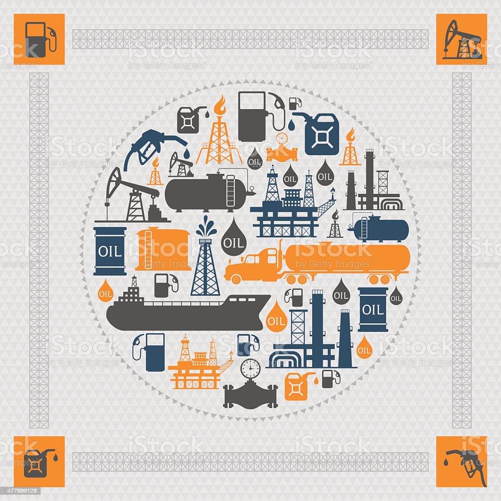 Oil Industry Collage vector art illustration