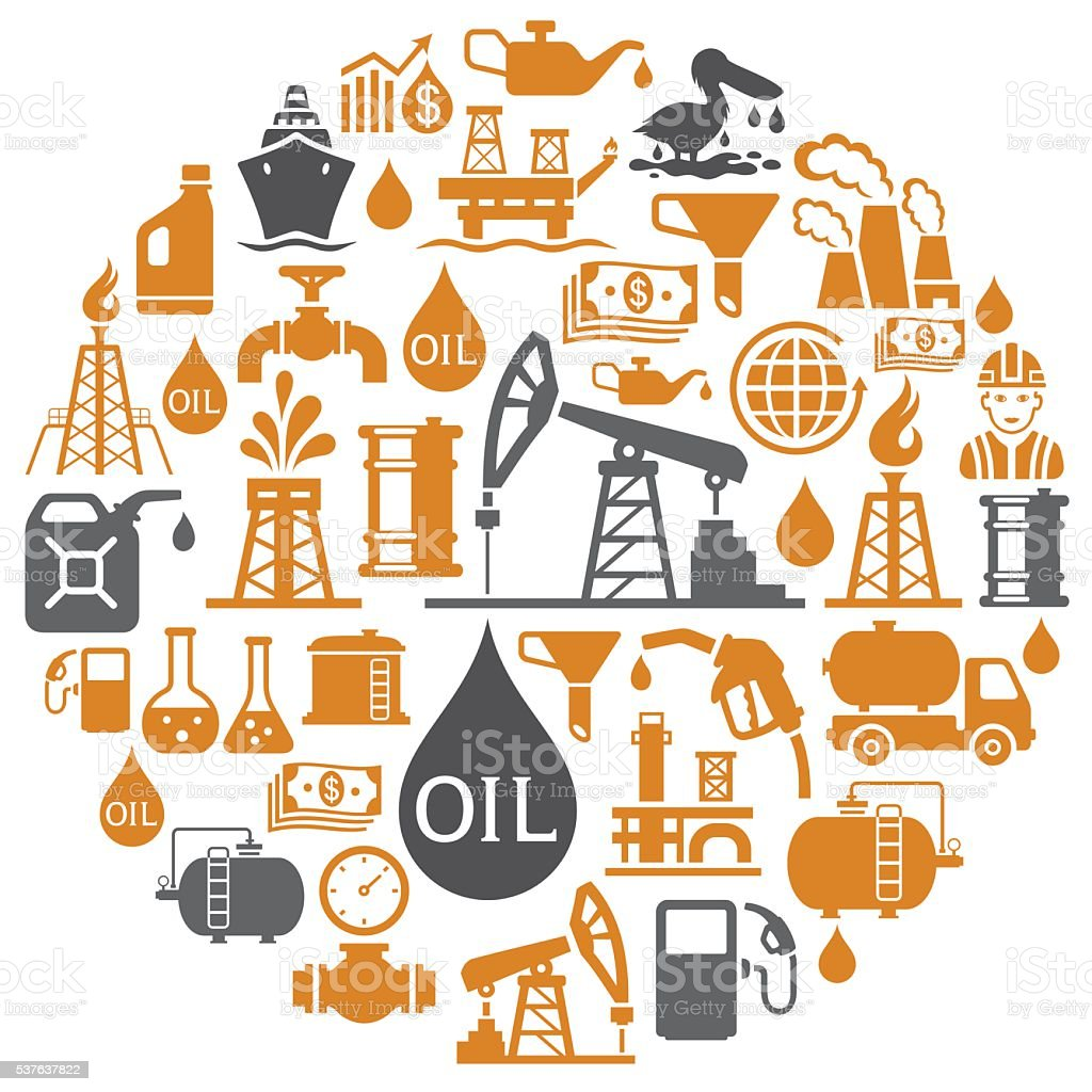 Oil Industry Collage vector art illustration