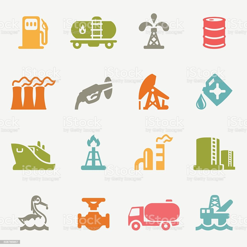 Oil Industry color variation icons | EPS10 vector art illustration
