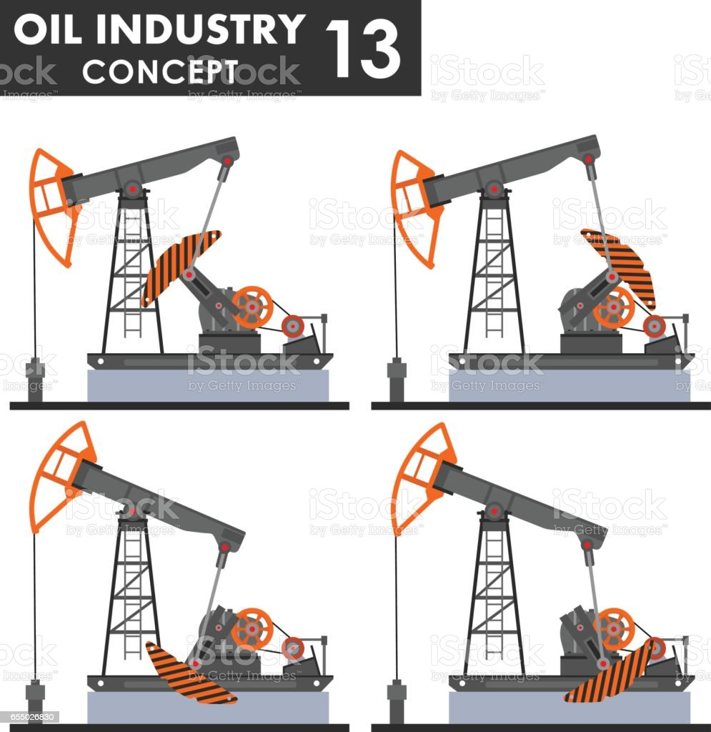 Oil industry concept. Different kind oil pumps isolated on white background in flat style. Vector illustration vector art illustration