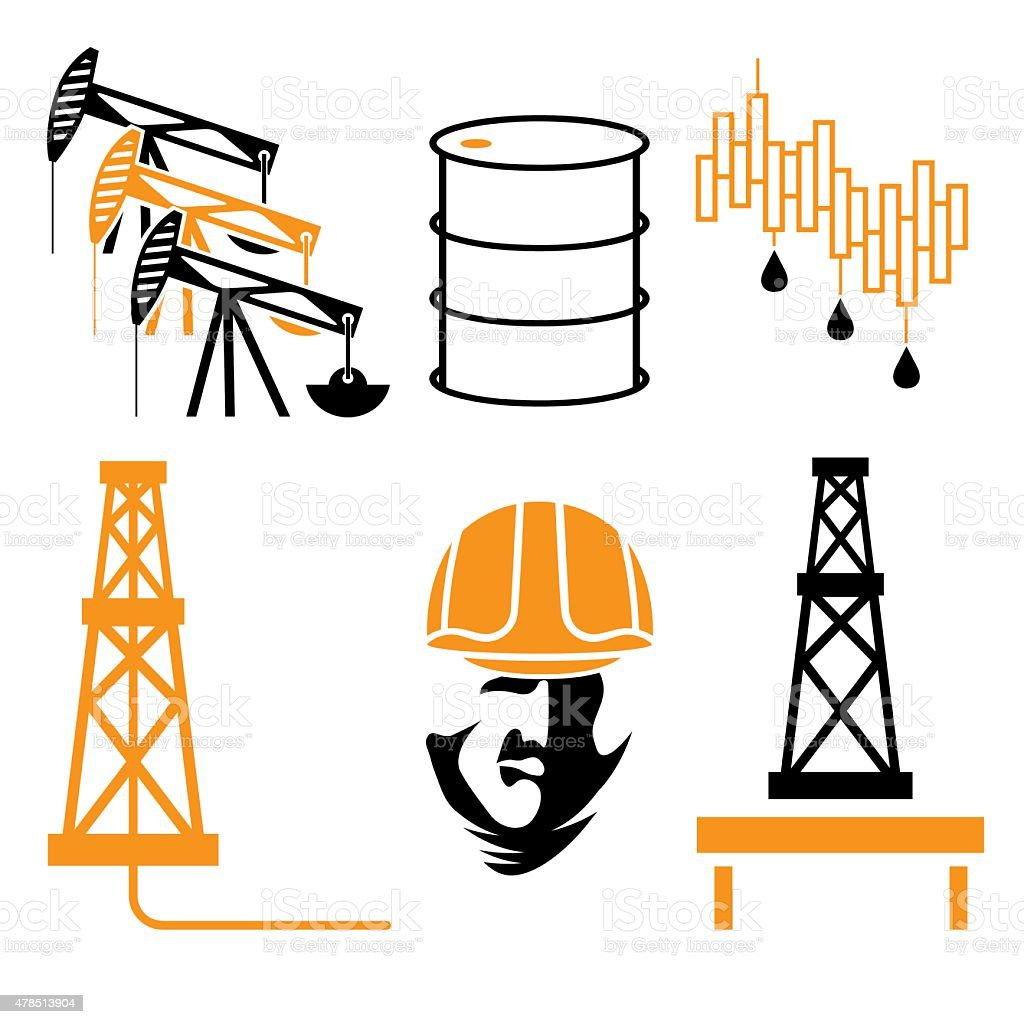 oil industry elements vector art illustration