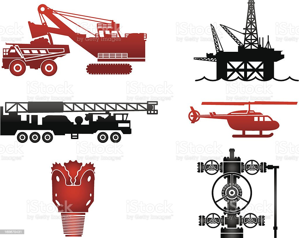 Oil Industry Equipment Images in Red and Black royalty-free stock vector art