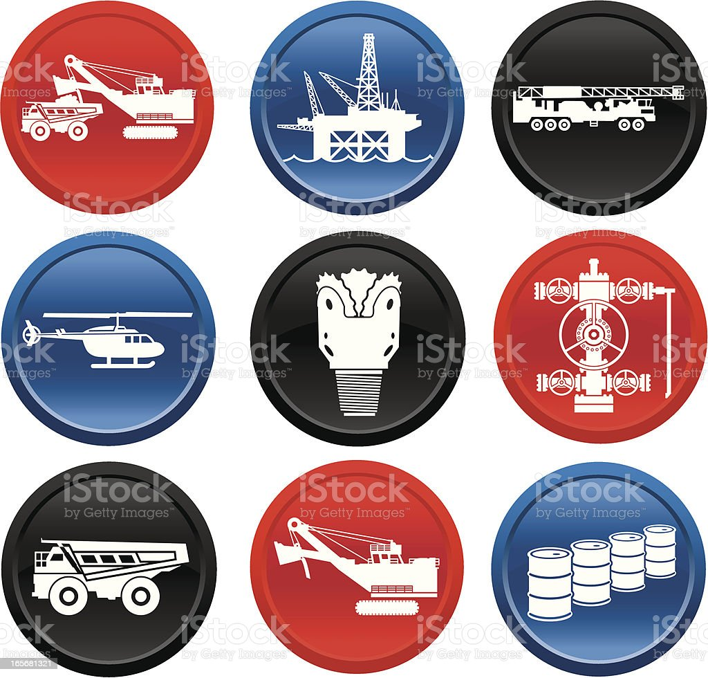 Oil Industry Equipment Images On Buttons vector art illustration