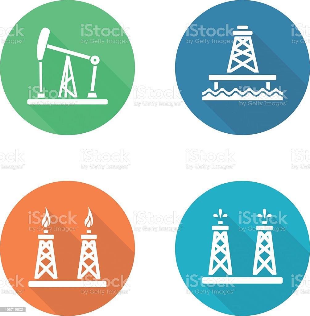 Oil industry flat design icons set vector art illustration