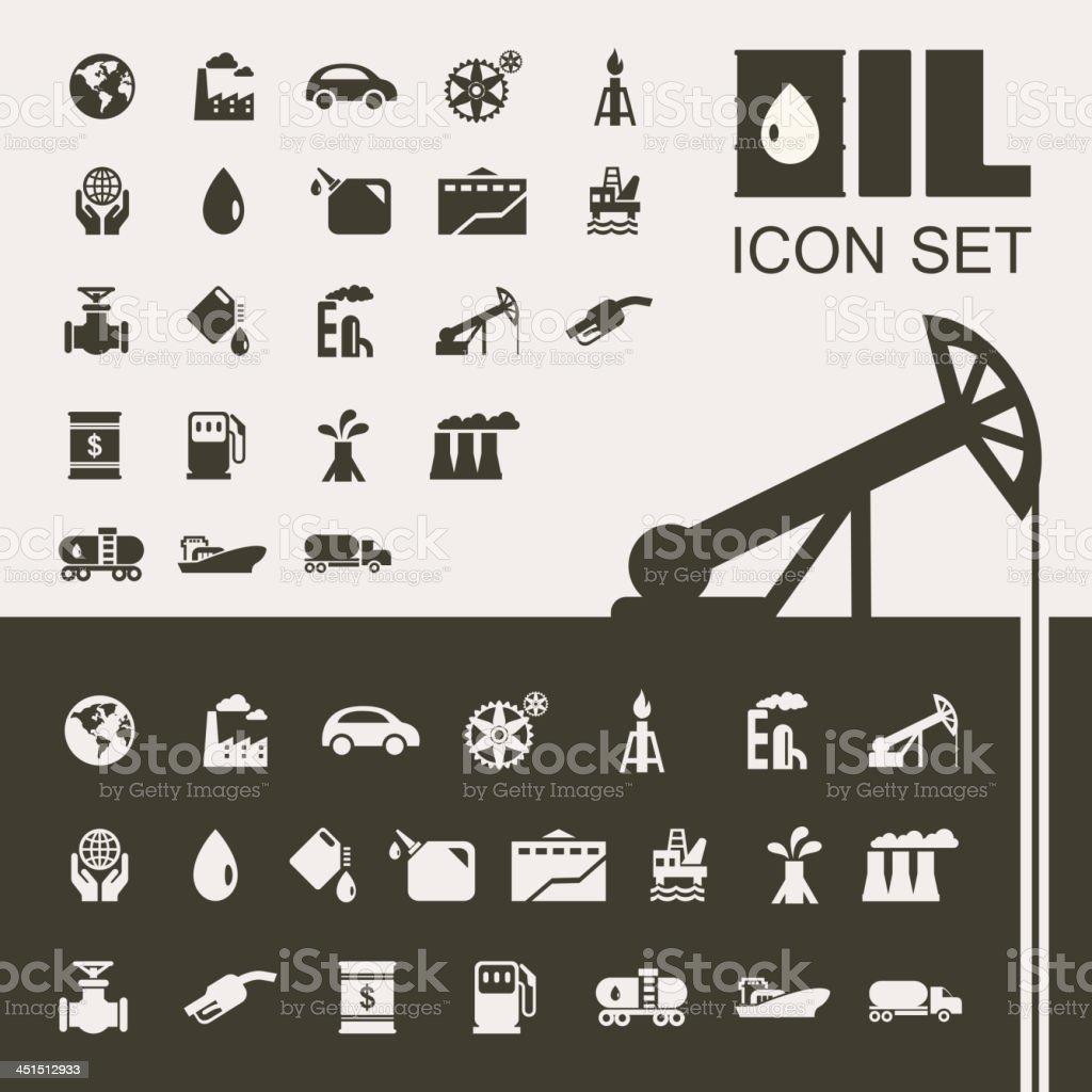Oil Industry Flat Icon Set vector art illustration