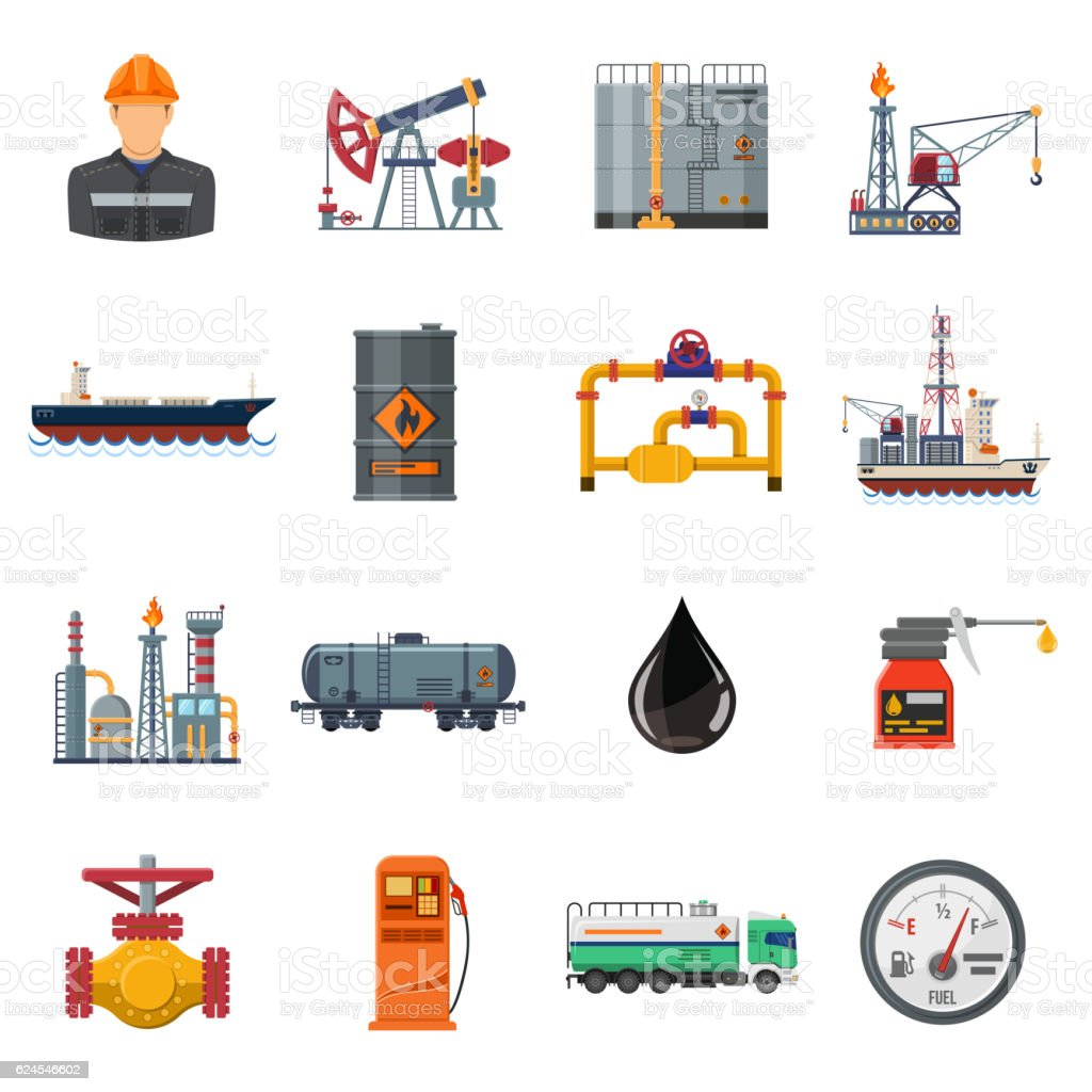 Oil industry Flat Icons Set vector art illustration