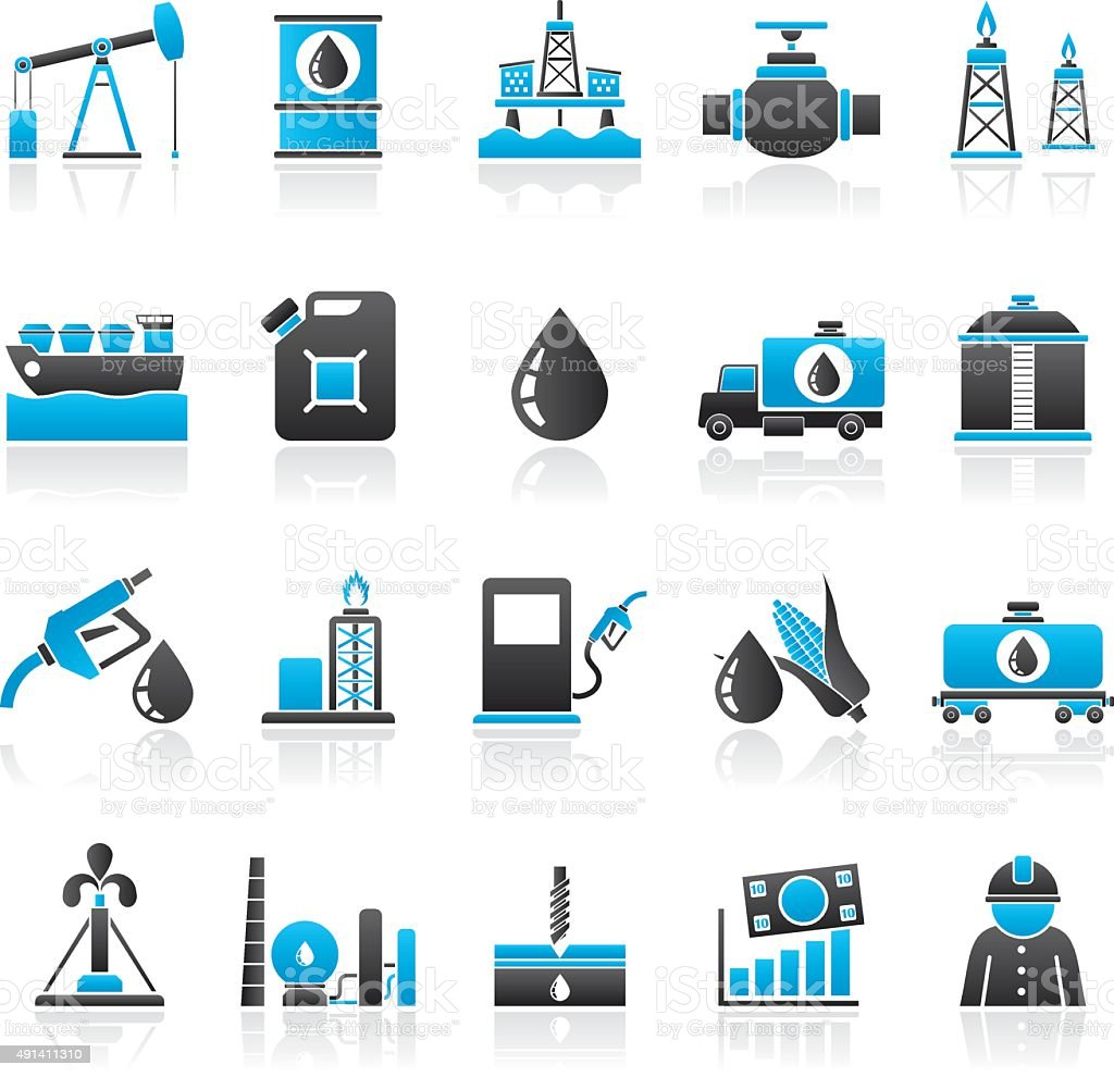 Oil industry, Gas production, transportation and storage icons vector art illustration