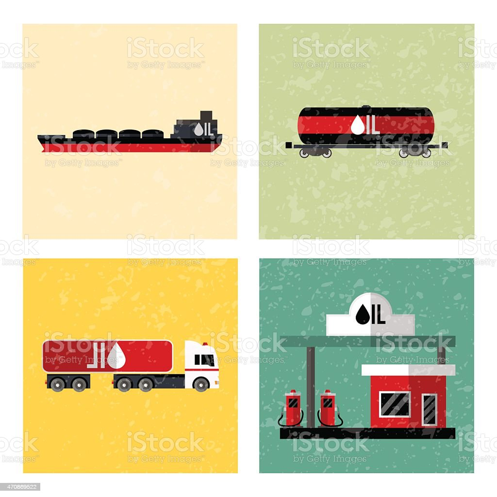 Oil industry icon set. Isolated on white computers icon. vector art illustration