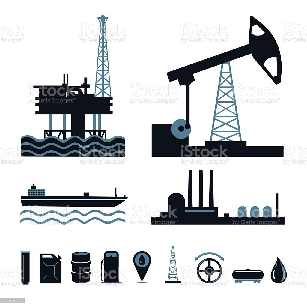 Oil industry icon set vector art illustration