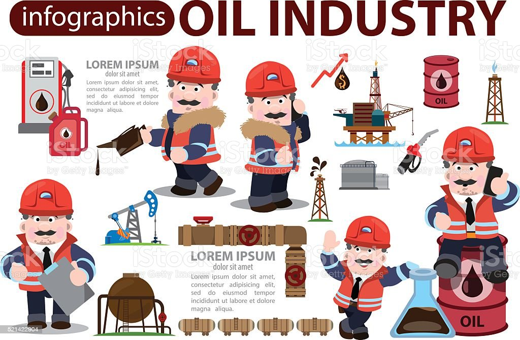 Oil industry icons, characters, infographics. vector art illustration
