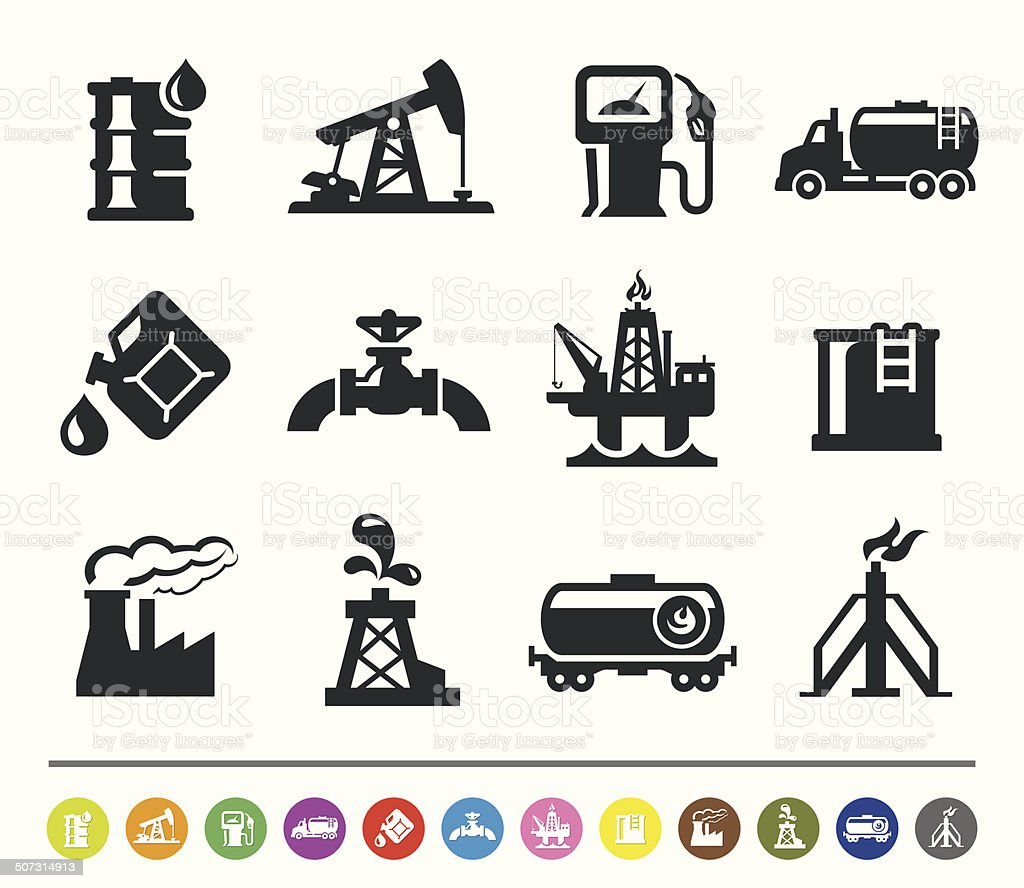 Oil industry icons | siprocon collection vector art illustration