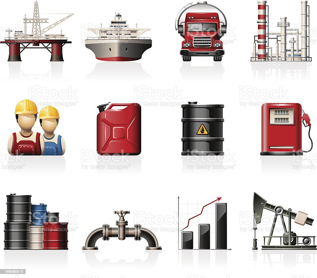 Oil Industry Icons royalty-free stock vector art
