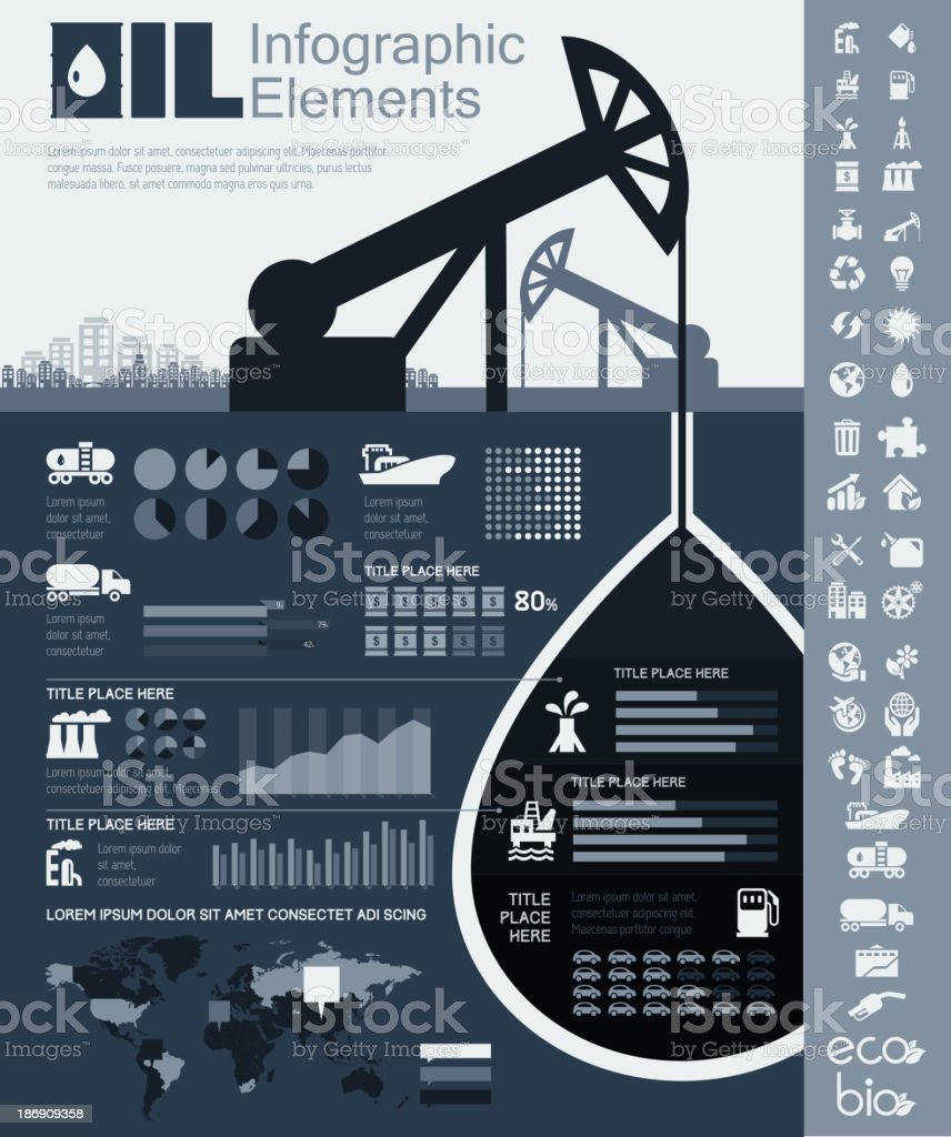 Oil Industry Infographic Template vector art illustration