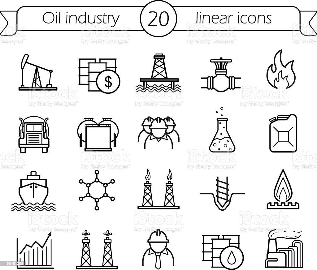 Oil industry linear icons set vector art illustration