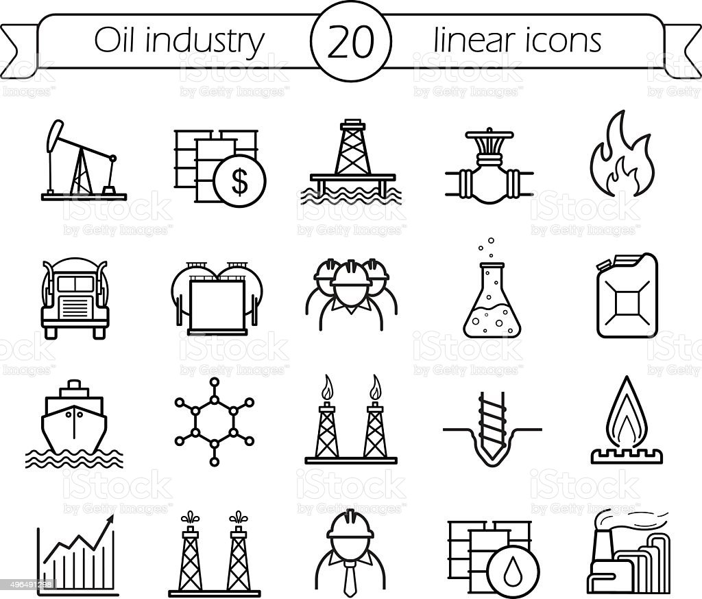 Oil industry linear icons set vector art illustration