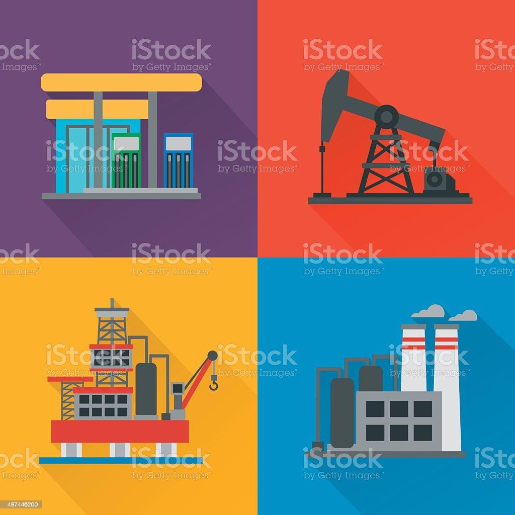 Oil industry modern concept design flat set vector art illustration