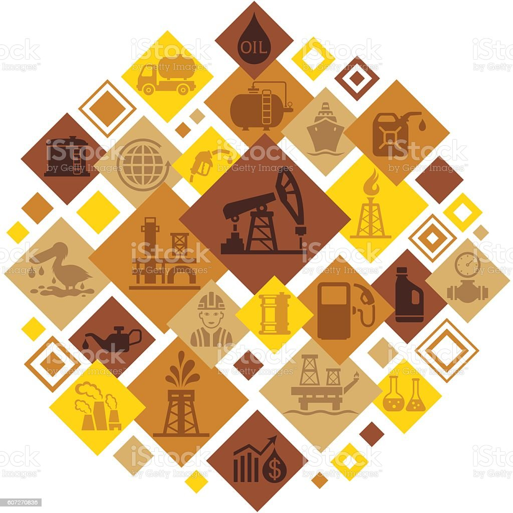Oil Industry Montage vector art illustration