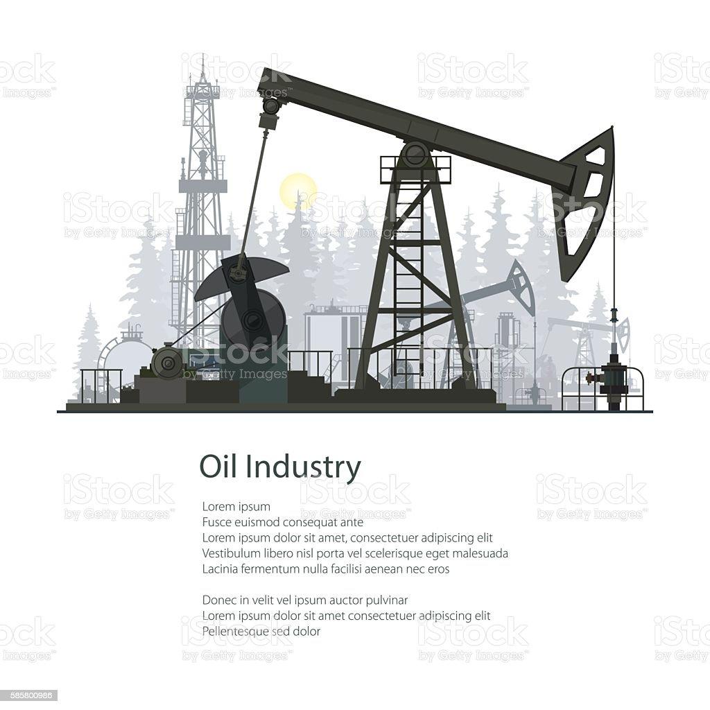 Oil Industry Poster Brochure Design vector art illustration