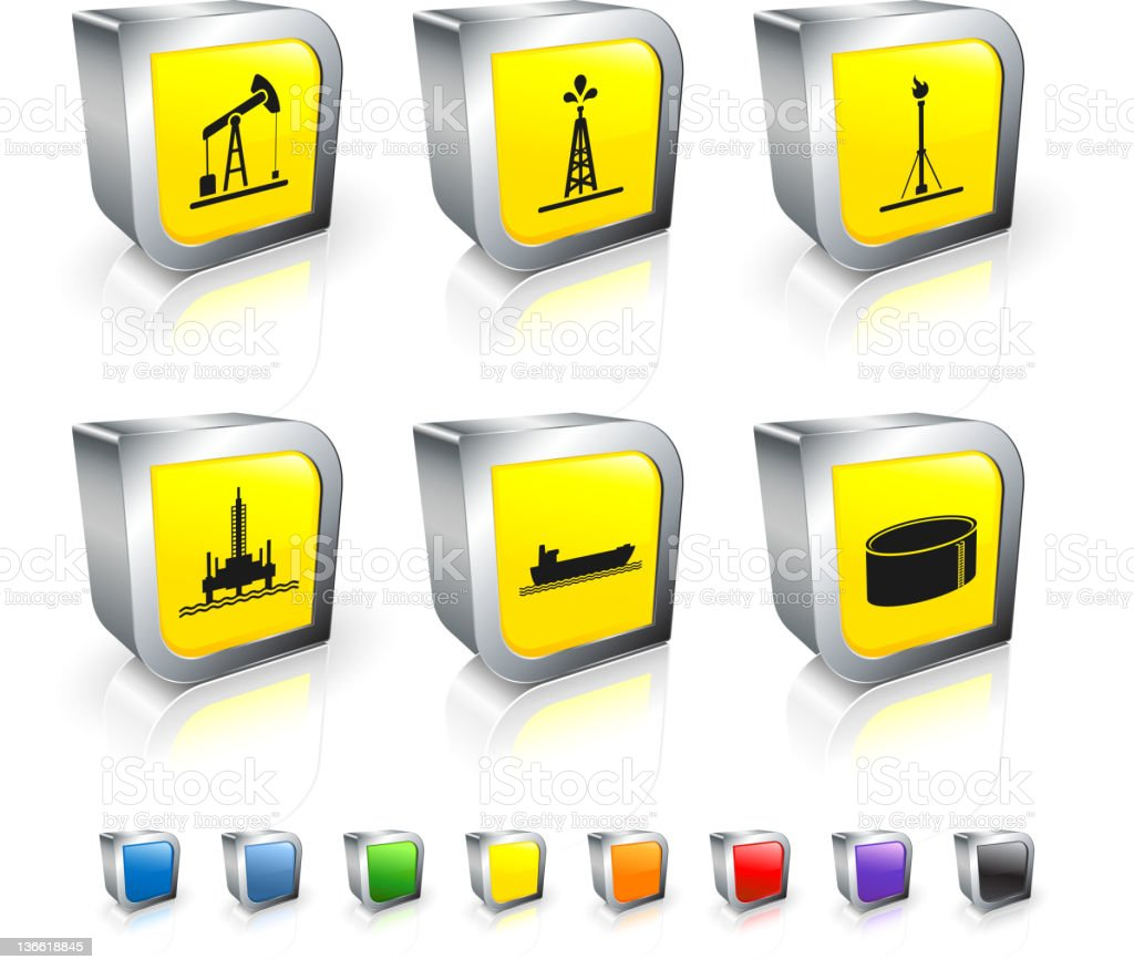 oil industry resources 3D royalty free vector icon set vector art illustration