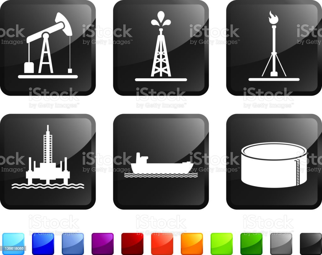 oil industry resources royalty free vector icon set stickers vector art illustration