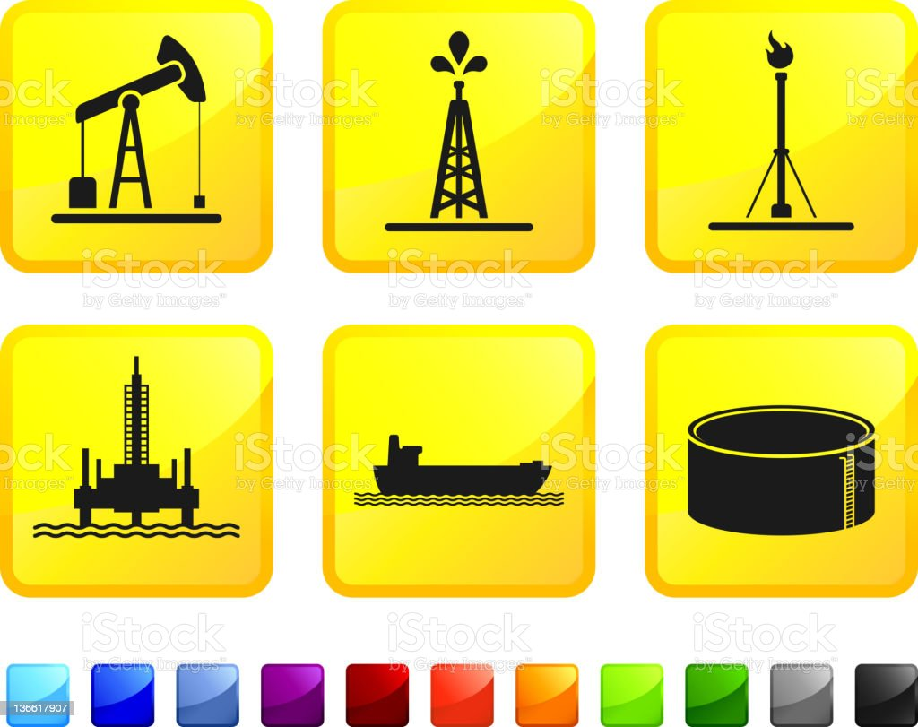 oil industry royalty free vector icon set stickers vector art illustration