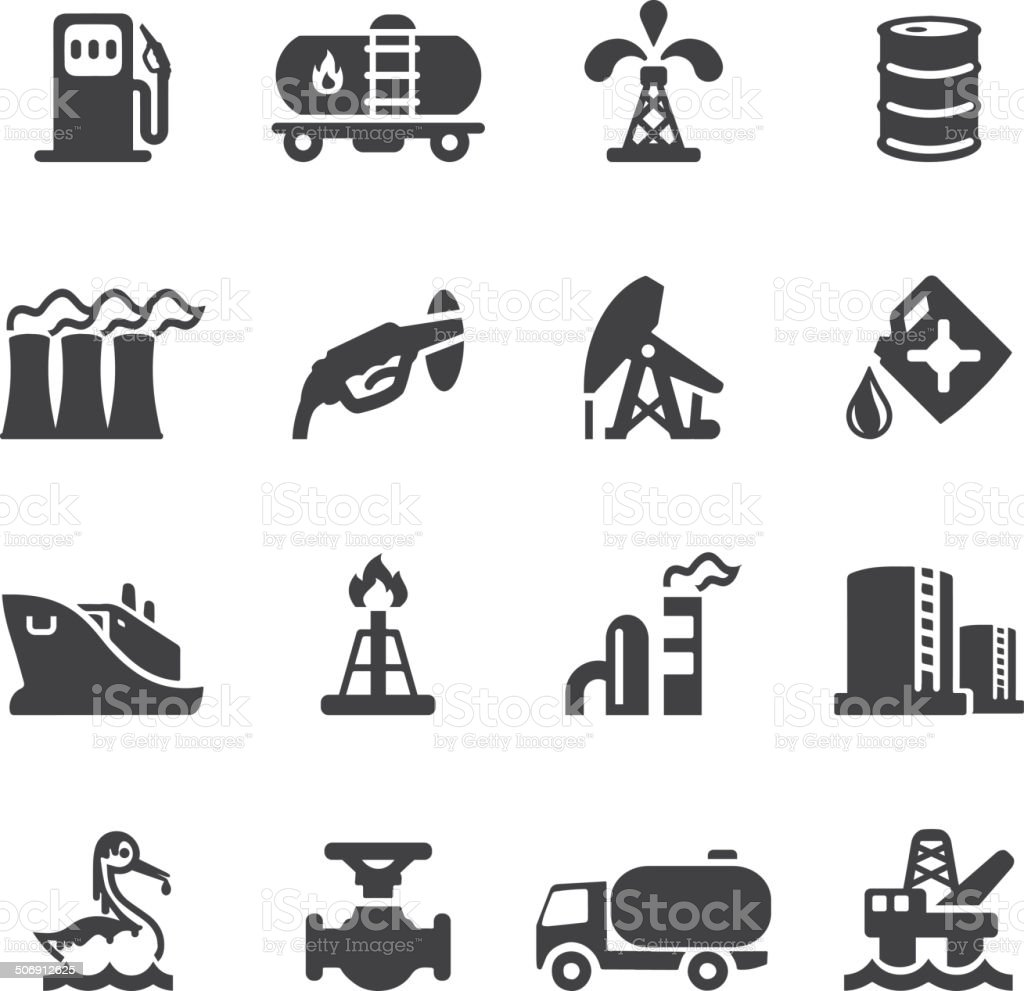 Oil Industry Silhouette icons | EPS10 royalty-free stock vector art