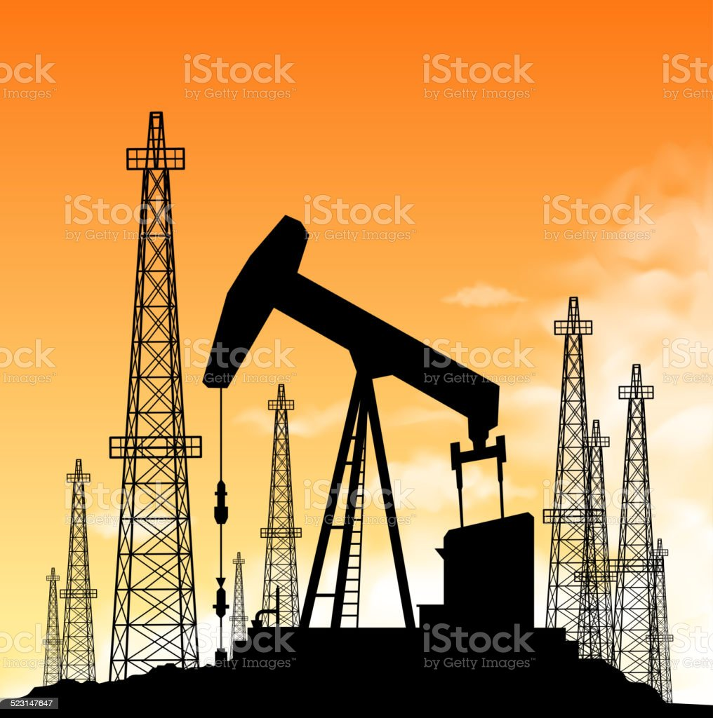 oil industry silhouette vector art illustration