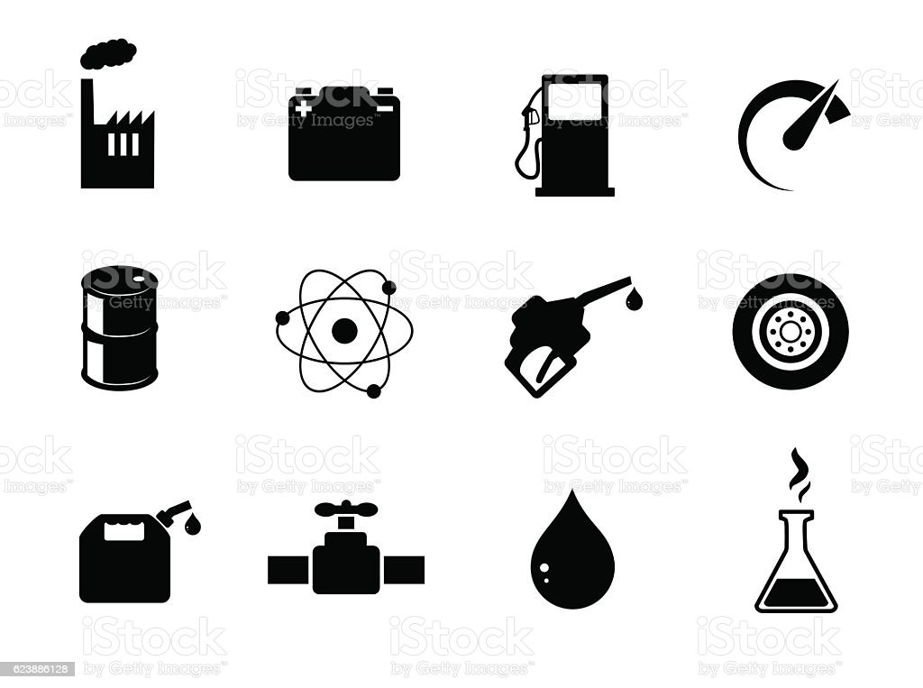 Oil industry vector icon set. vector art illustration