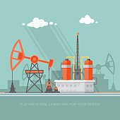 Oil industry vector illustration, Infographics. Processing of gasoline fuel
