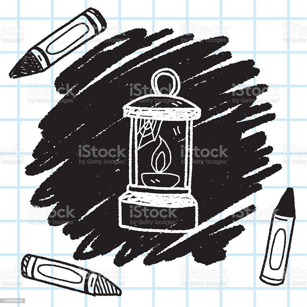 Oil lamp doodle vector art illustration