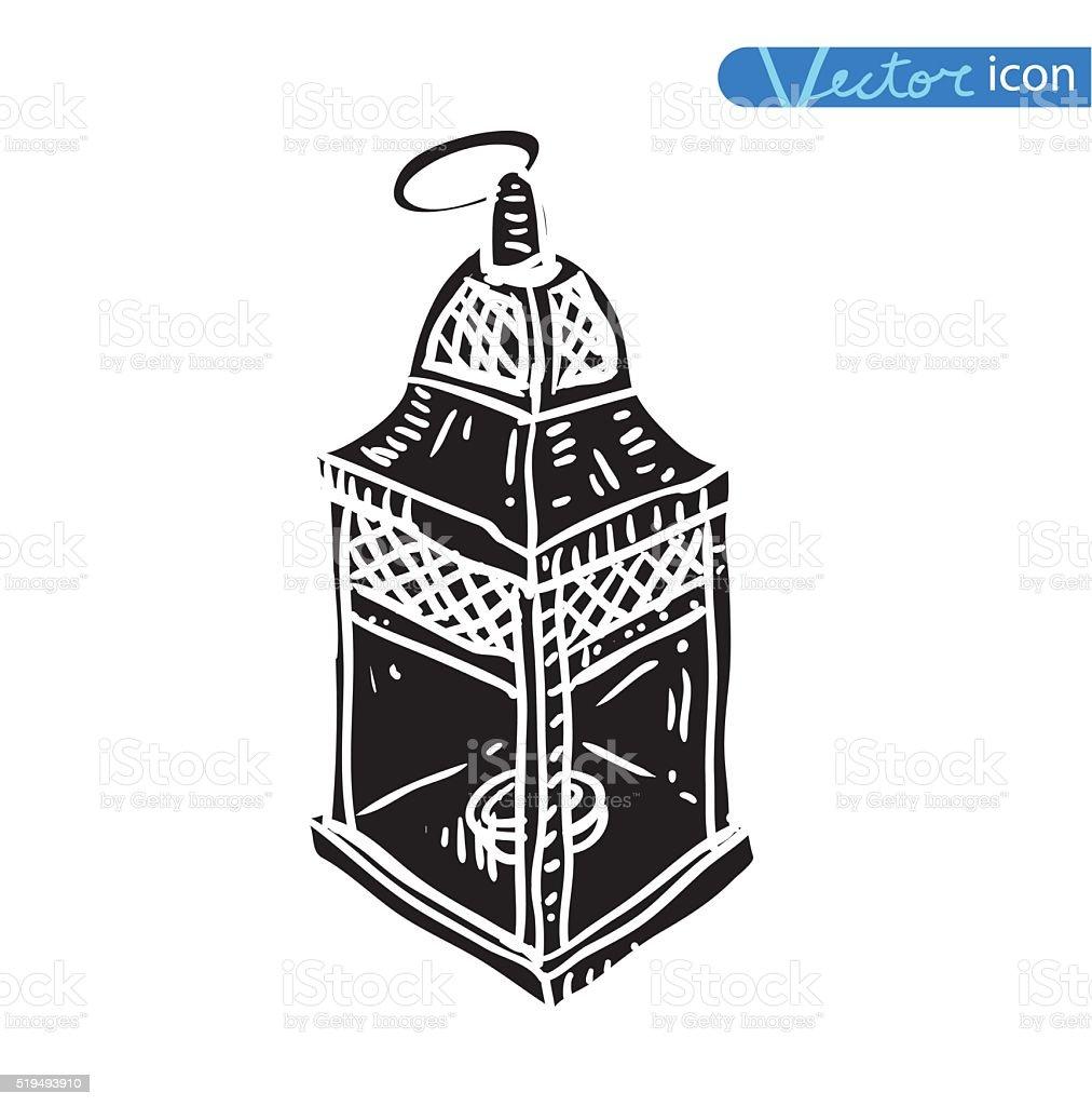oil lamp icon, hand drawn vector illustration. vector art illustration