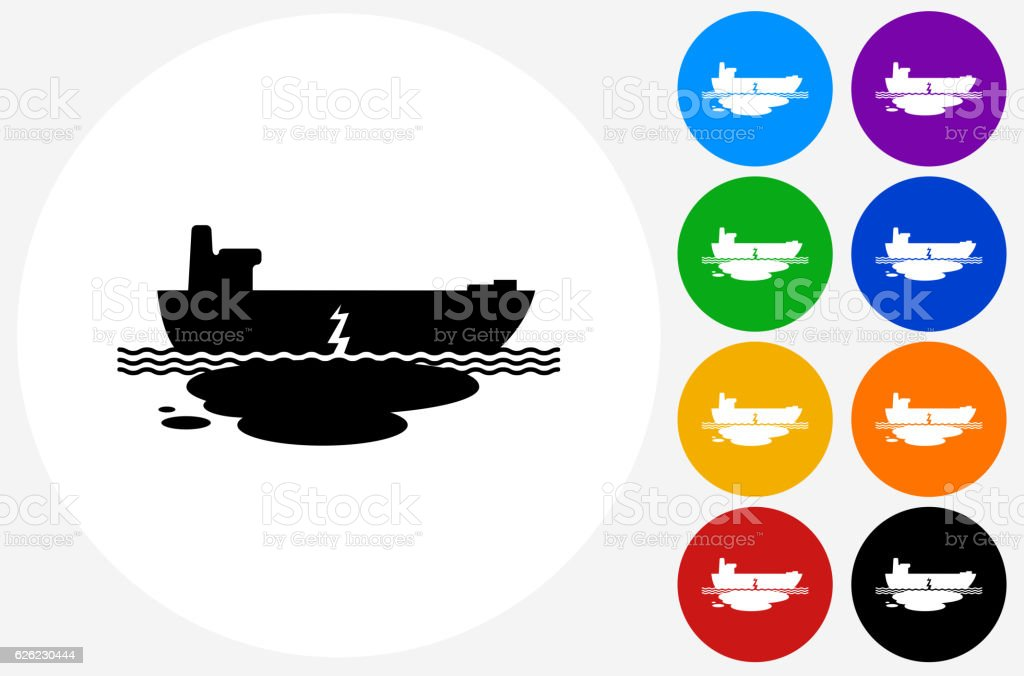 Oil Leak Ship Wreck Icon on Flat Color Circle Buttons vector art illustration