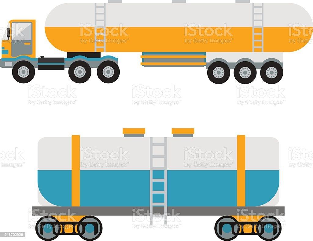 Oil logistic petroleum transportation, tank car, tanker metal barrel flat vector art illustration