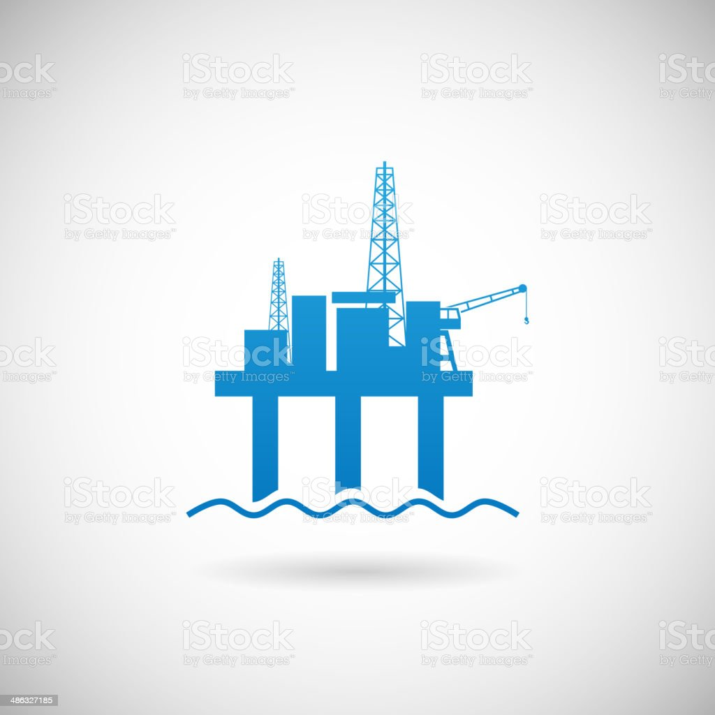 Oil Offshore Platform Colloquially Rig Symbol Icon Design Template on vector art illustration