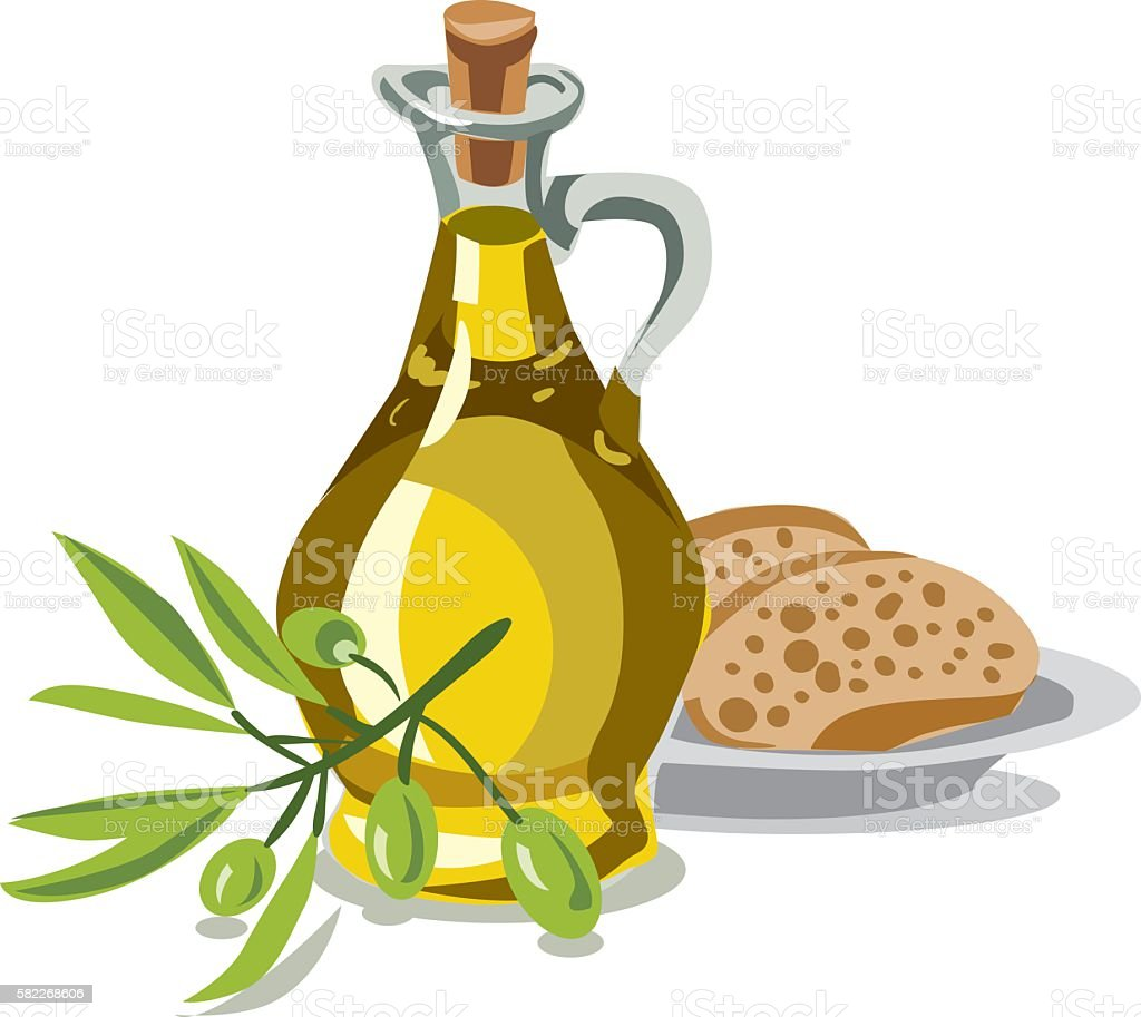 oil olive with bread vector art illustration