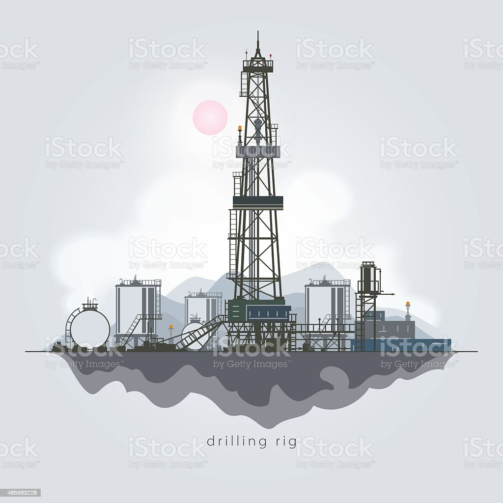 Oil or Natural Gas Drilling Rigs vector art illustration