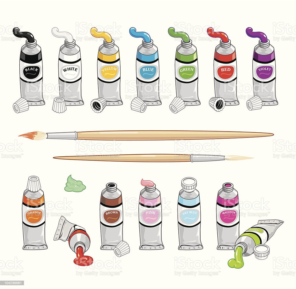 Oil Paint Tubes Collection royalty-free stock vector art