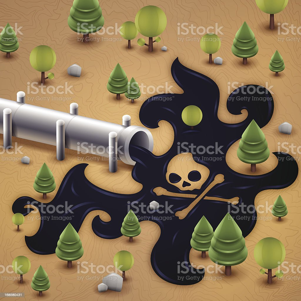 Oil Pipeline Spill Pollution royalty-free stock vector art