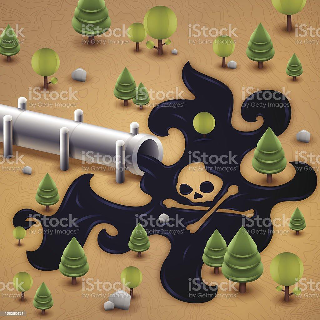 Oil Pipeline Spill Pollution vector art illustration