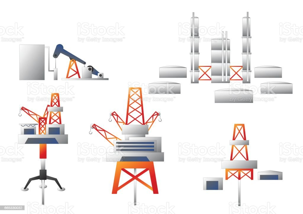 Oil platform and oil refinery  Vector set vector art illustration