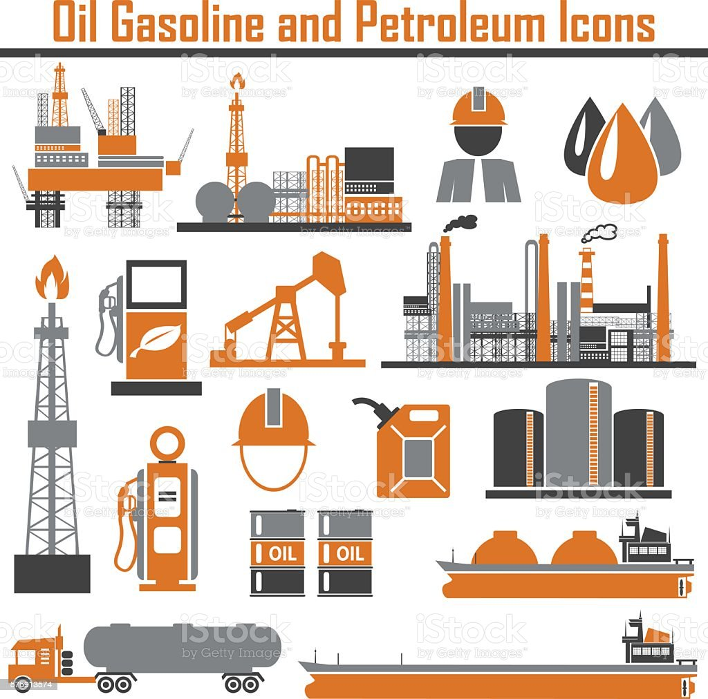 Oil platform design concept set with petroleum flat icons isolat vector art illustration