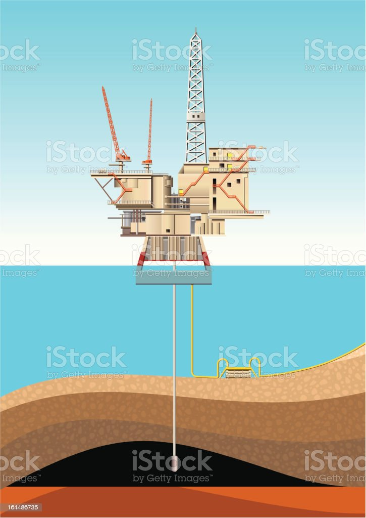 Oil Platform vector art illustration
