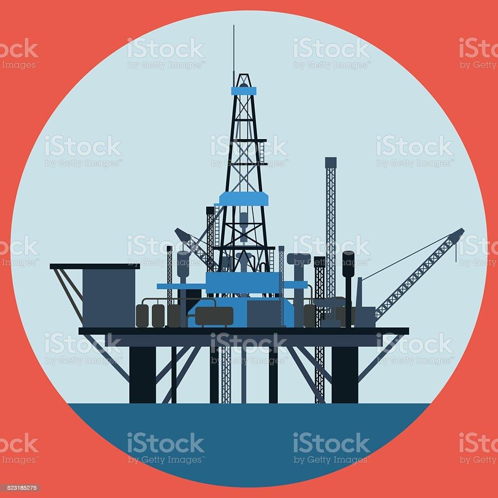 Oil platform vector art illustration